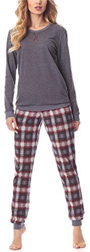 Merry style pigiama manica lunga donna ms10-168(mélange scuro bordeaux, m)