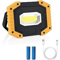 flintronic Lampe de Camping à LED, 20W Projecteurs Travail Rechargeable (2 * 18650 Batterie Lithium), IPX4   SOS   Lumière Extérieur é Tanche pour Prises de Courant, Camping, Secours
