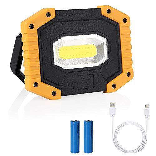 flintronic LED Arbeitsstrahler, 20W Strahler Arbeitslampe (1 * COB) Baustrahler Aufladbare Arbeitsleuchte Wasserdicht für Baustelle Garage Werkstatt (Umfassen 2*Wiederaufladbare Batterien)