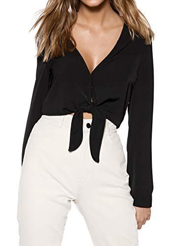 IVYREVEL Damen Tie Front Top Bluse, Schwarz (Black 001), Herstellergröße: 42 - Deep V-neck Tunika Top