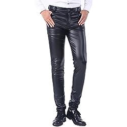 Idopy Pantalones vaqueros delgados de los pantalones vaqueros del cuero del invierno del verano delgados delgados del negocio de Thick del invierno