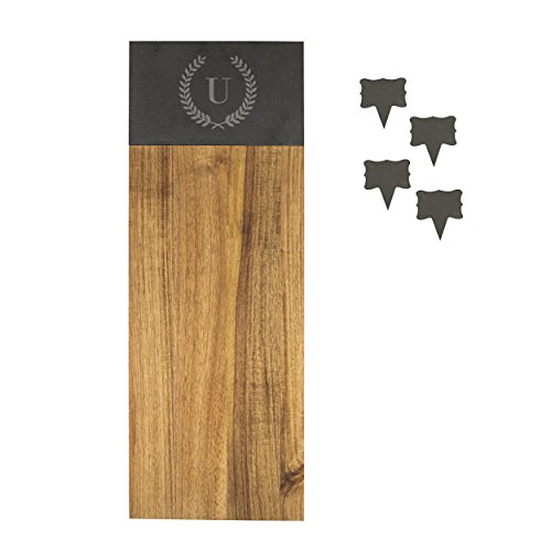 Cathy's Concepts 4175-U Acacia & Slate Charcuterie Serving Board, Brown