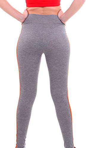 ... U-shot Femme Taille Empire Fitness Sports Pantalon Stretch Casual  Leggings Gris clair + Orange e16476da8db