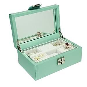 Dulwich Designs Pretty Medium Duck Egg Blue Leather Ladies Jewellery Box