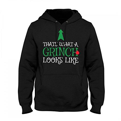 Fashionalarm Herren Kapuzen Pullover - Thats What A Grinch Looks Like | Fun Hoodie Spruch Geschenk Idee Weihnachten Heiligabend Weihnachtsmuffel, Farbe:schwarz;Größe:L