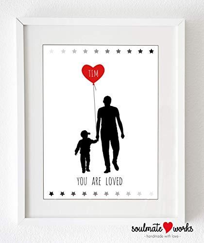 """Kunstdruck mit Namen des Kindes\""""you are loved\"""" (nur Druck - ohne Rahmen) personalisiert mit den Gebur"""