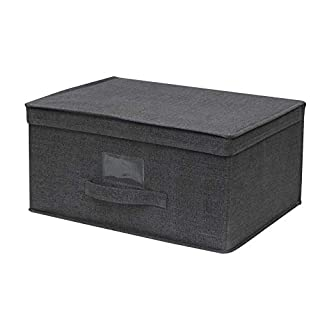Cflagrant® Reinforced Foldable Fabric Storage Box XL 40 x 20 x 30 cm with Lid and Handle Dark Grey