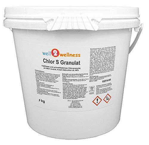 well2wellness Chlor S Granulat - schnell lösliches Chlorgranulat mit über 60{3e4136374cef3f1dca5af145c8c6c220a342ba247309711179666e8d9a28f858} Aktivchlor, 5,0 kg