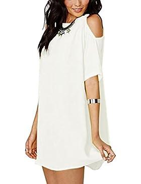 Mujeres Suelto Elegante Manga Corta Cuello Redondo Shirt Top Camiseta Vestido Blanco XL