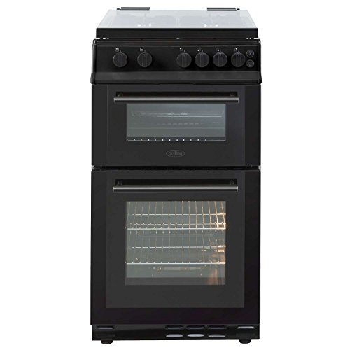 Belling FS50GDOL 50cm Freestanding Double Oven 4 Burners Gas Cooker in Black