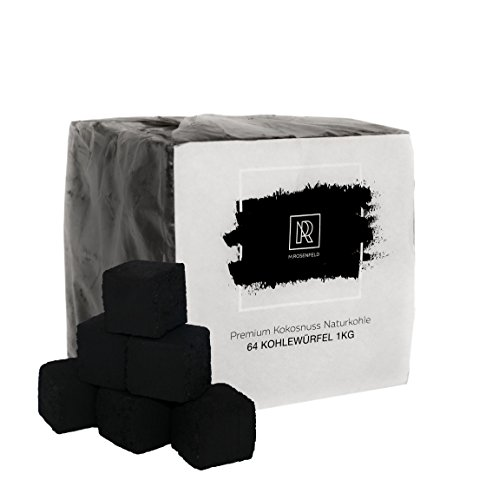 1KG | Premium XL Kokosnuss Naturkohle für SHISHA & BBQ [26mm Shisha Kohle] | 100% ÖKO Beste Preis-Leistung | M. ROSENFELD