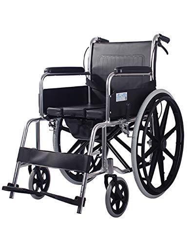 Sillas de ruedas autopropulsadas negras plegable ligero, multifunción dispositivo de movilidad de enfermería con inodoro y frenos, neumático a prueba de pinchazos reposapiés desmontables ,Aluminum