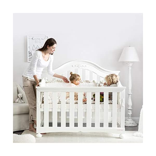 DUWEN-Cot bed Solid Wood Multifunctional Baby Cot European Toddler Bed Game Bed Sofa Bed Children's Bed (color : White) DUWEN-Cot bed 1. Multi-functional crib is the best gift for your baby. It not only can make your baby have a better sleep experience, but also cultivate your baby's independent consciousness and exercise your baby's hand and foot coordination ability. It is your best choice. 2. The multi-functional crib is made of environmentally friendly pine wood, which is tough and durable, not easy to crack and deform, and has a bearing capacity of over 120KG. 3. The crib is safe and environmentally friendly, non-irritating, harmless to the baby, mother can buy with confidence 3