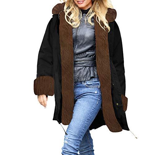 TianWlio Mäntel Frauen Weihnachten Damen Mantel Langarm Strickjacke Jacke Outwear Herbst Winter Kunstpelz Winterjacke Parka Kapuzenmantel Fischschwanz Mantel