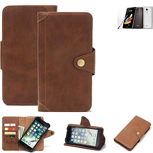 K-S-Trade Handy Hülle LG Stylus 2 DAB+ Schutzhülle Walletcase Bookstyle Tasche Handyhülle Schutz Case Handytasche Wallet Flipcase Cover PU Braun (1x)