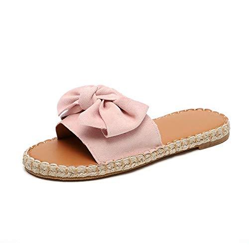 Schlappen Damen Espadrille Sandalen Flache Sommer Schleife Wildleder Sandaletten Peep Toe Plateau Strand Hausschuhe Pantoletten Bequeme Rosa 43