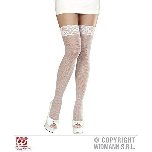 Lively Moments Halterlose Netzstrümpfe in weiß / Netzstrumpf / Overknees / Fasching / Kostüm / - Netzstrümpfe Sexy Kostüm Zubehör