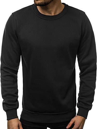 OZONEE Herren Sport Fitness Training Crewneck Täglichen Modern Sweatshirt Langarmshirt Pullover Warm Basic J. Style 2001-10 2XL SCHWARZ - Crewneck Long Sleeve Top