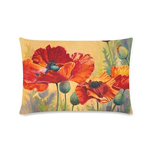 Beautiful Poppy Flower Custom Rechteck Sofa Home dekorativer Überwurf-Kissenbezug Baumwolle Polyester Twin Seite Druck 40,6x 61cm (Monster-truck-plüsch Werfen)