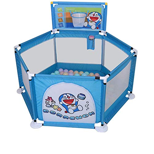 FMEZY Baby-Laufgitter- und Bällebad-Set, Sicherheitsspielbereich Tor, weißer Gitterzaun, zusammengebauter Hausspielplatz (Farbe: C) -