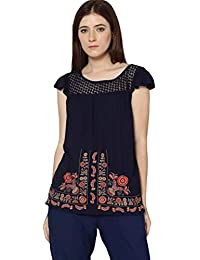 DJ & C By Fbb Embroidered Top with Lace Yoke