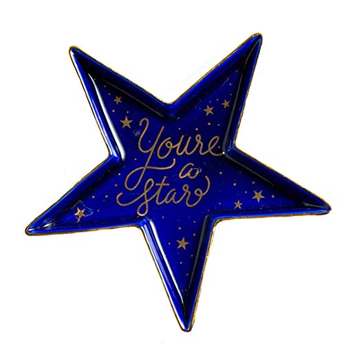 CX&NY Keramik Turm Ring Halter Schmuck Halter Ohrringe Halskette Armband Schmuckschalen Home Decor Organizer Hochzeit Geburtstage,Pentagram,blau -