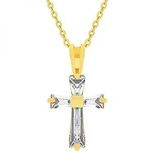 Spiritueller Kreuz Ketten-Anhänger mit Zirkonia Diamanten, 14 Karat Gold Vermeil