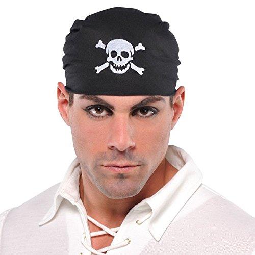 ous Pirat Party Totenkopf Bandana (1Stück) Zubehör, schwarz, one size (Damen Piraten Accessoires)