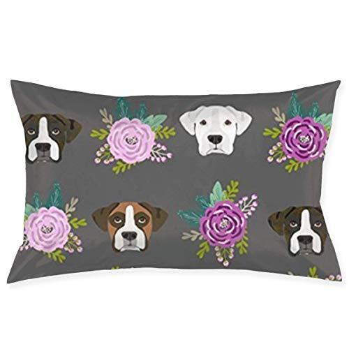 Throw Pillow Cases Boxer Dogs Floral Pillow Case Sofa Car Waist Throw Cushion Cover Home Decor Decorative Polyester and Linen Throw Pillow Case Cushion Cover 18x30 Inch - Floral Boxer