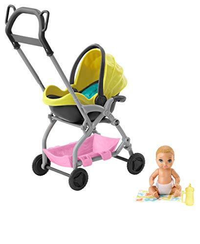 Barbie- skipper babysitter set carrozzina con bambolotto e accessori, giocattolo per bambini 3+ anni, gfc18