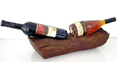 CleanPrince Weinflaschenhalter f. 2 Flaschen ca. 45x18x13cm EINZELSTUECK Teakholz Holz dunkel braun...