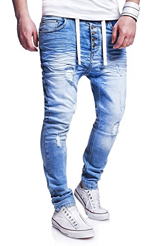 MT Styles Jogg-Jeans Buttons Hose RJ-289 Hellblau