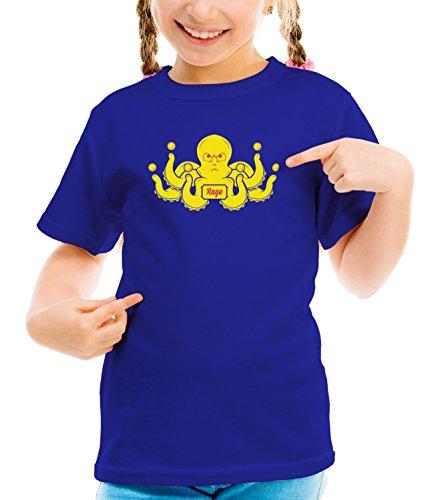 Three Monkeys Yelow Octopus Animals Collection Girls Classic Crew Neck T-Shirt Dark Blue Medium