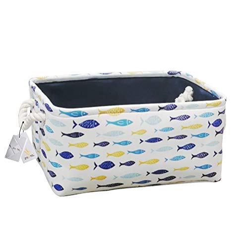 Znvmi Faltbare Aufbewahrungskorb Stoff Rechteckiger Aufbewahrungsbox Baby Lagerung Körbe für Spielzeug, Kleidung, Regal und Schrank - Gelber und blauer Fisch -