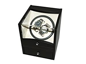Watch Winder (1 motor 2 relojes) Black PU Leather de Maestrorelojero