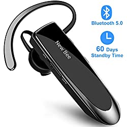 New Bee Oreillette Bluetooth V5.0 Main Libre Oreillette Bluetooth avec Technologie de Capture de Voix Claire Kit Oreillette Bluetooth Invisible pour iPhone Samsung Huawei Sony, etc (Noir)