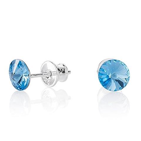 LillyMarie Damen Ohrstecker Silber hell-blau original Swarovski Elements Rund Satin-Beutel, Geschenkidee beste