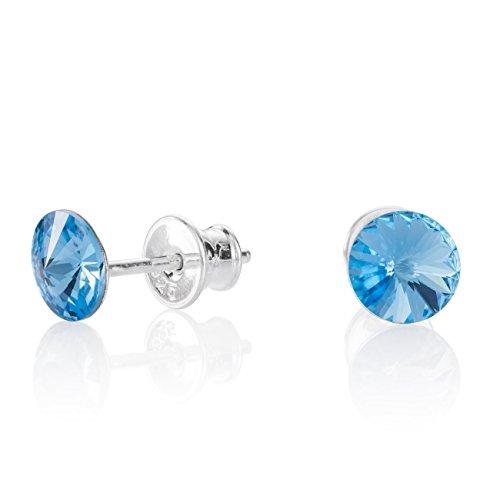 Lillymarie donne argento orecchini a perno 925 azzurro punto luce swarovski elements originali rotondi sacchetto stoffa regalo per il migliore amico