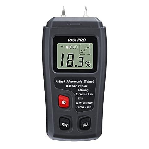 Bois l'humidité Mètre, Risepro® Digital l'humidité Mètre 2broches Bois humidité testeur teneur en eau MT-10