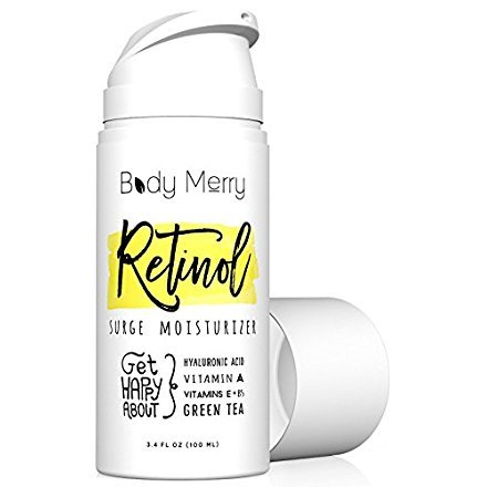 Body Merry Professional Grade 2.5% Retinol Hyaluronic Acid & Vitamins E + B5, Green Tea Surge Moisturizer -USA- (Green Tea Moisturizer)