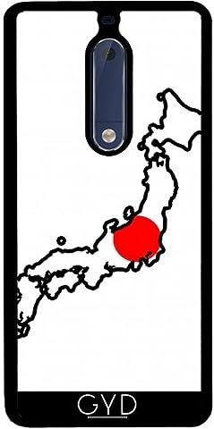Coque Silicone pour Nokia 5 - Japon Carte De Drapeau by Cadellin