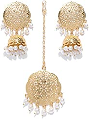 Zaveri Pearls Gold Tone Embellished with Pearls Earring & Maangtikka Set for Women-ZPFK