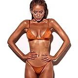 Bikini ,Yanhoo® Costume da bagno Spingere verso l'alto Costumi da bagno mutande reggiseno Sexy push-up reggiseno imbottito benda bikini set colore vestito a strisce di balneazione (S, arancione)