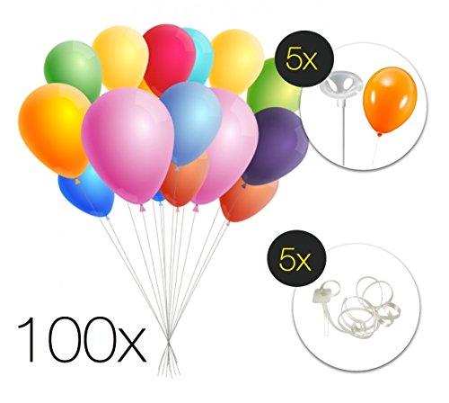 100x XXL Set Luftballon Partyballon Heliumballon Luftballons Ballon Ballons bunt farbig Großpackung mit Verschluss Ballonhalter und Halter Halterverschlüsse für Party, Geburtstag, Kindergeburtstag für KInder und Erwachsene Luft und Helium (Luftballons Mit Stab)