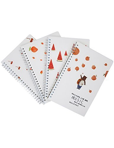 What's Fun A5Spirale Thema Design Hardcover College, Liniert/Zusammensetzung/Zeitschriften/Dairy/Office Note-Bücher 4Stück (Musik & Fruit) (Spirale Kleine Notebook)