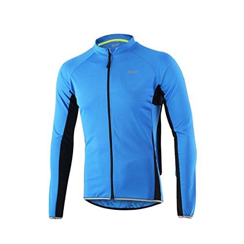 GWELL Herren Radtrikot Atmungsaktiv Fahrradbekleidung Trikot Langarm blau XL