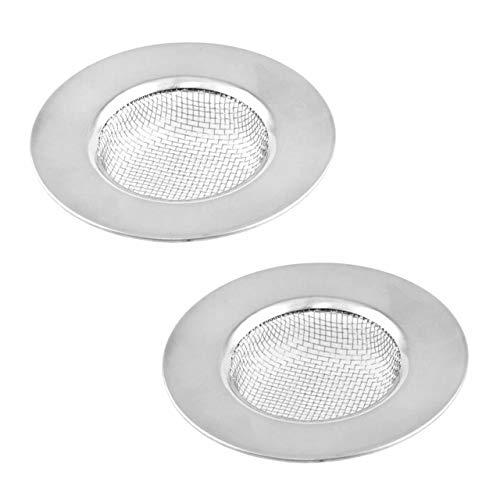 Lantelme 2 Stück Edelstahl Abflußsieb Set Sieb Feinmaschig Ideal für Bad Badewanne Dusche und Küche Spüle 5187