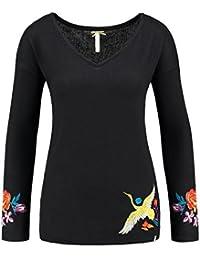 Key Largo Femmes Haut à manches longues WLS HOLLY avec broderie Flowers Fleurs Oiseau oiseau