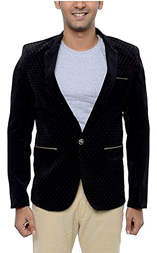 PIERRE CARDIN Men's Slim Fit Blazer (POLBL1--S, Black, Small)  available at amazon for Rs.1800