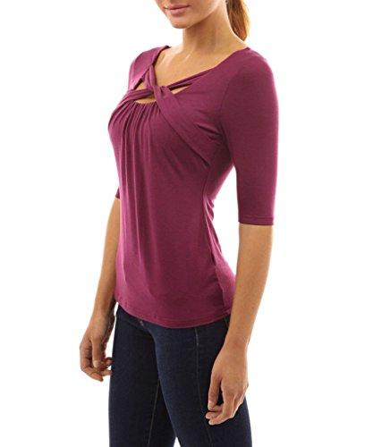 Minetom Femmes Elbow Manchon Cou Croix Slim Shirt Blouse Tops Chemise T-Shirt Rouge sombre